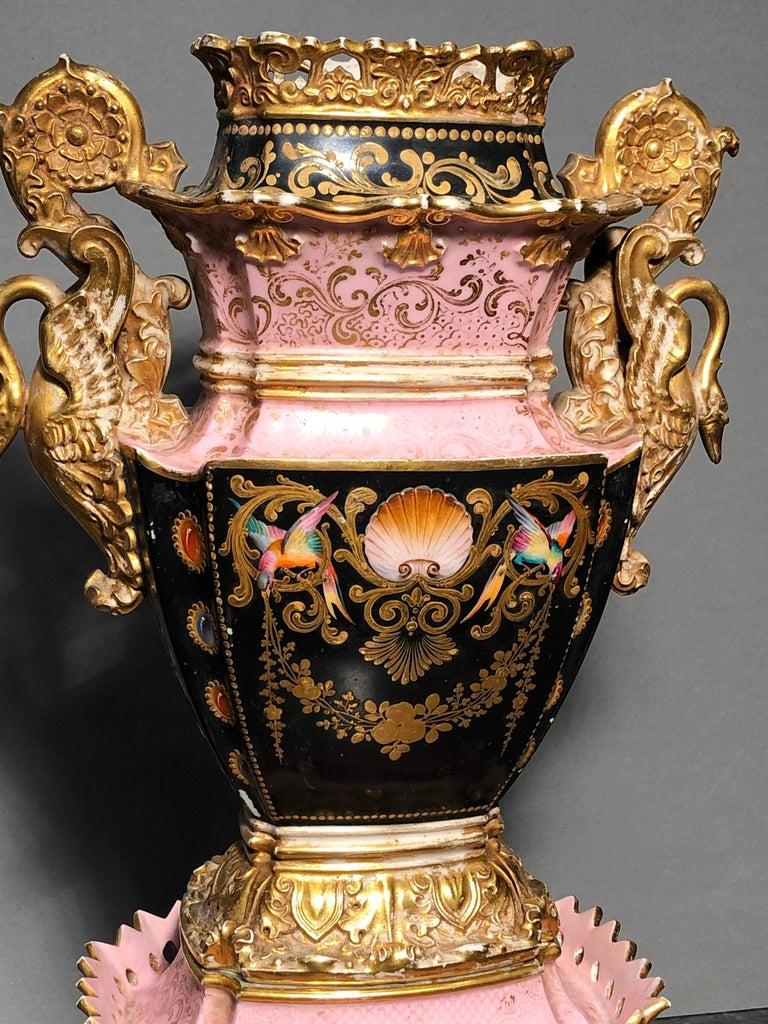 Hand-Painted 19th Century Empire France Porcelain Vase J.Petit, circa 1830 For Sale