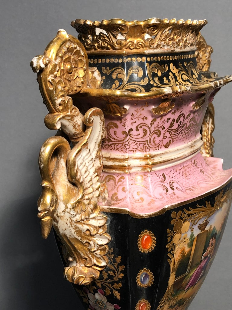 Early 19th Century 19th Century Empire France Porcelain Vase J.Petit, circa 1830 For Sale