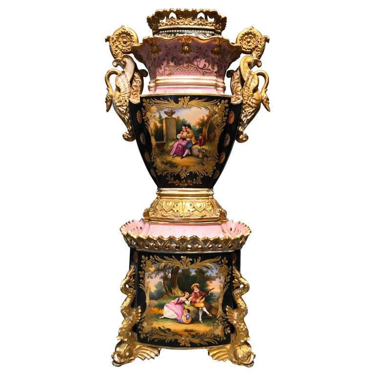 19th Century Empire France Porcelain Vase J.Petit, circa 1830 For Sale
