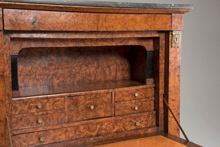 19th Century Empire French Elm Briar Drop Down Door Secretaire For Sale 3