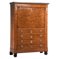 19th Century Empire French Elm Briar Drop Down Door Secretaire