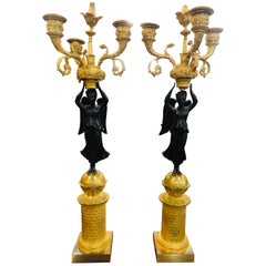 19th Century Empire French Gilt Bronze Candelabras, 1810s