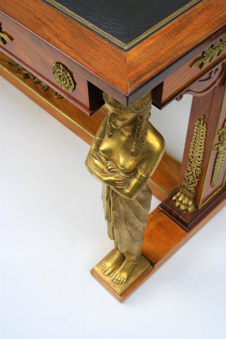 19th Century Empire Gilt Bronze Mounted Mahogany Desk after Jacob-Desmalter For Sale 5