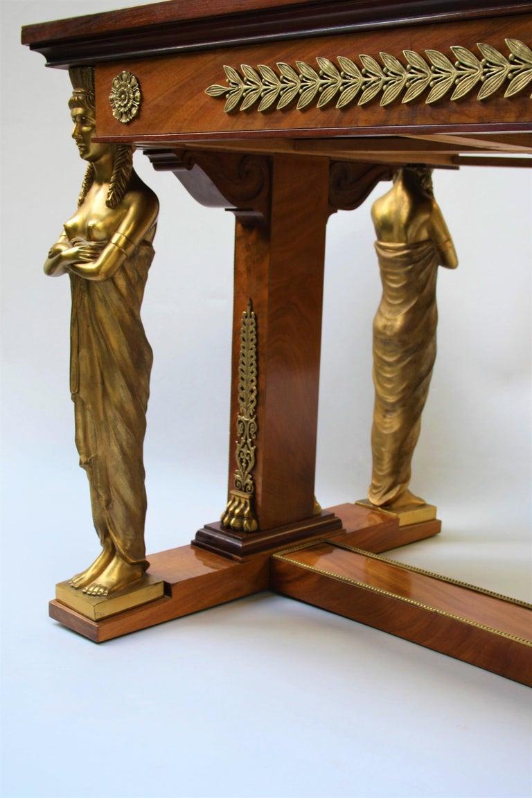 19th Century Empire Gilt Bronze Mounted Mahogany Desk after Jacob-Desmalter For Sale 6