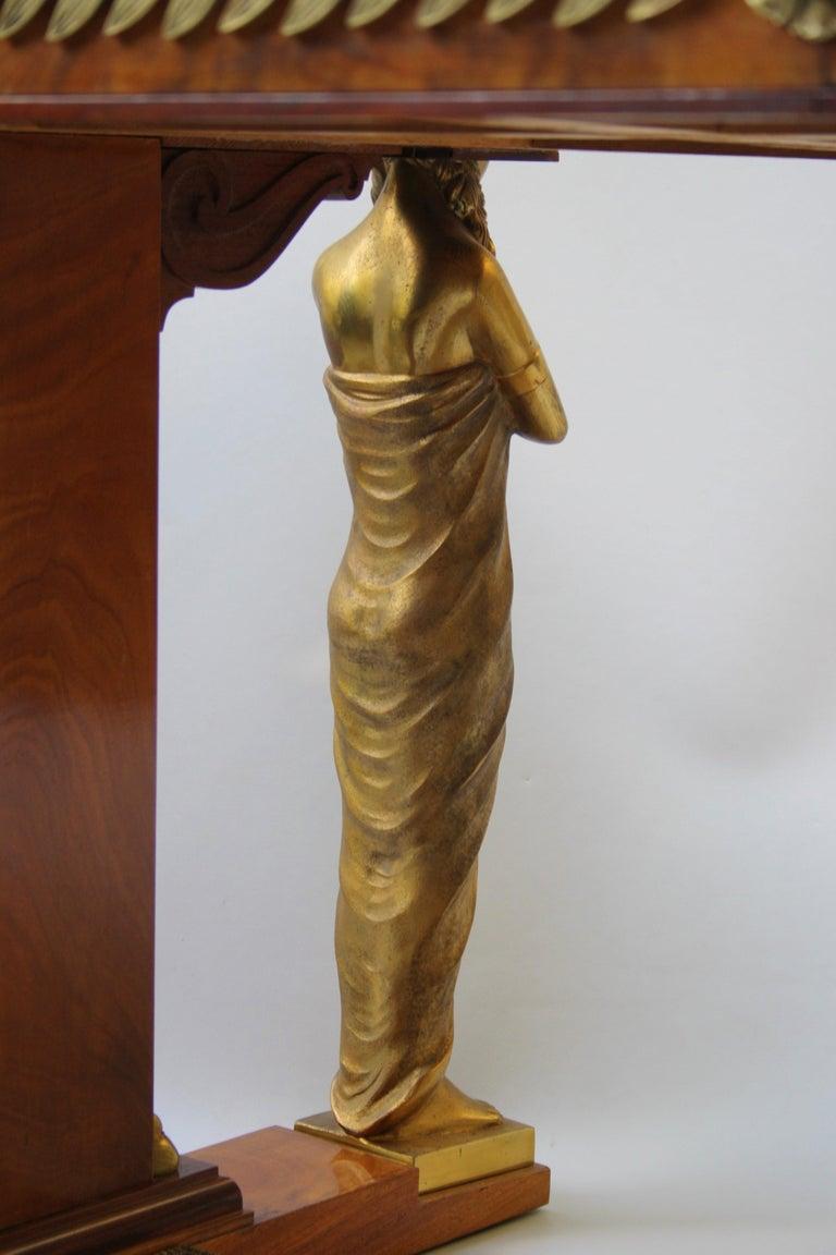 19th Century Empire Gilt Bronze Mounted Mahogany Desk after Jacob-Desmalter For Sale 7