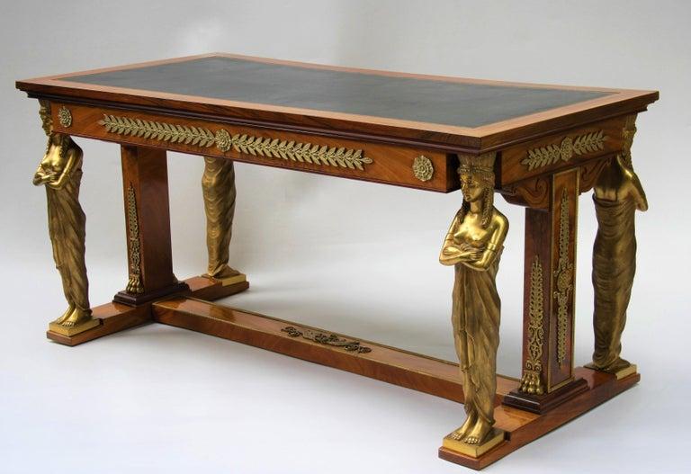 19th Century Empire Gilt Bronze Mounted Mahogany Desk after Jacob-Desmalter For Sale 9