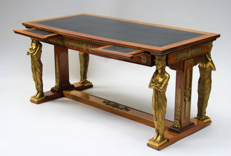 French 19th Century Empire Gilt Bronze Mounted Mahogany Desk after Jacob-Desmalter For Sale