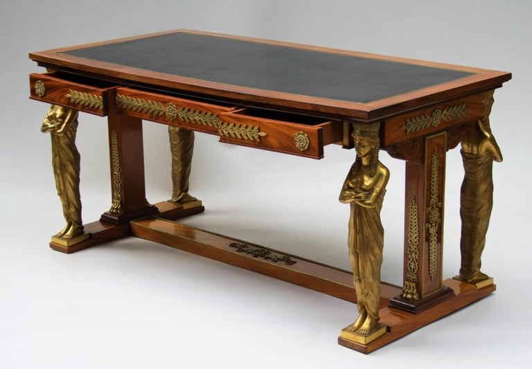 19th Century Empire Gilt Bronze Mounted Mahogany Desk after Jacob-Desmalter In Good Condition For Sale In Belgium, BE