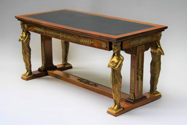 Late 19th Century 19th Century Empire Gilt Bronze Mounted Mahogany Desk after Jacob-Desmalter For Sale