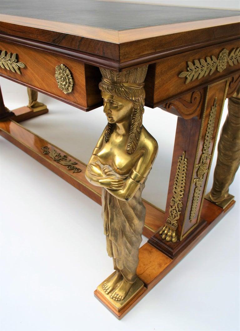 19th Century Empire Gilt Bronze Mounted Mahogany Desk after Jacob-Desmalter For Sale 1