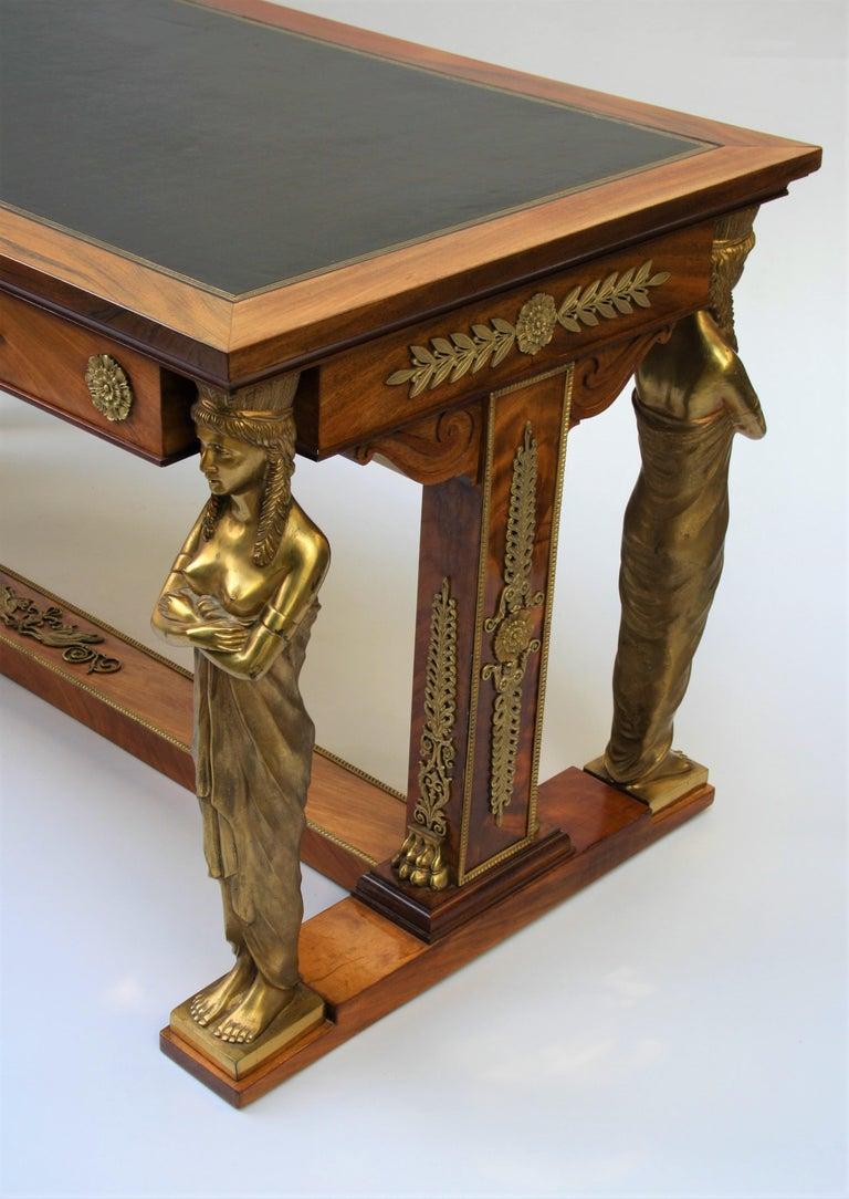 19th Century Empire Gilt Bronze Mounted Mahogany Desk after Jacob-Desmalter For Sale 2