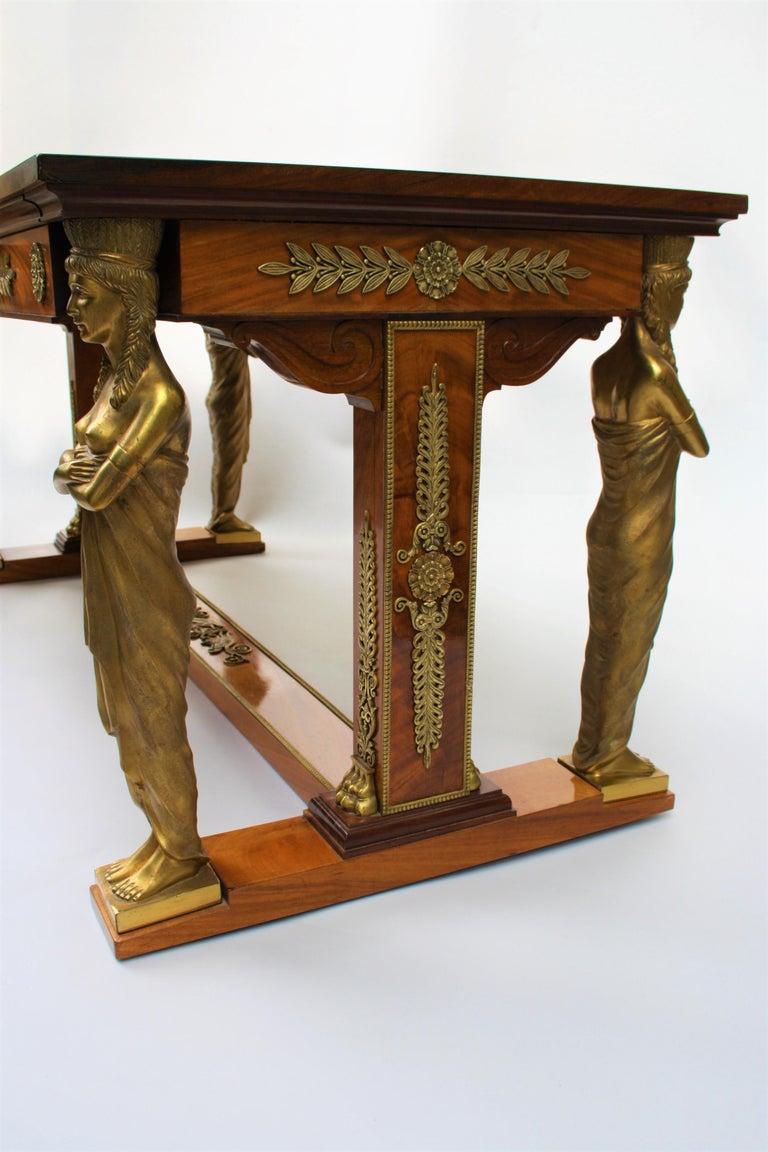 19th Century Empire Gilt Bronze Mounted Mahogany Desk after Jacob-Desmalter For Sale 3