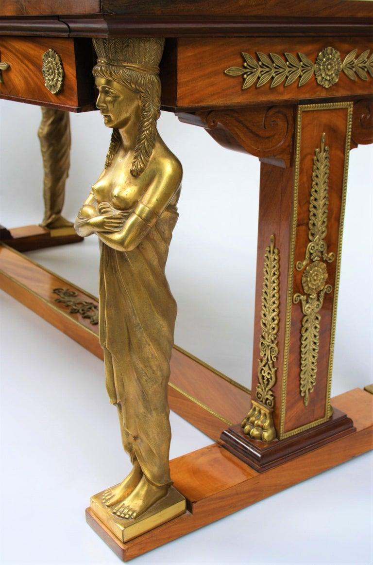 19th Century Empire Gilt Bronze Mounted Mahogany Desk after Jacob-Desmalter For Sale 4
