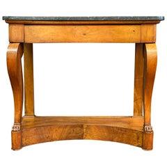 19th Century Empire Mahogany Marble-Top Walnut Pier Table