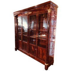 19th Century Empire Mahogany Vitrines Bookcase