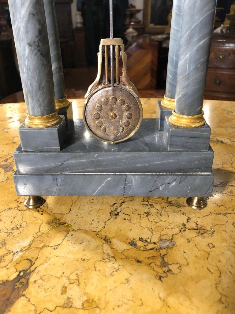 19th Century Empire Marble France Clock Mainet à Paris, 1810s For Sale 6