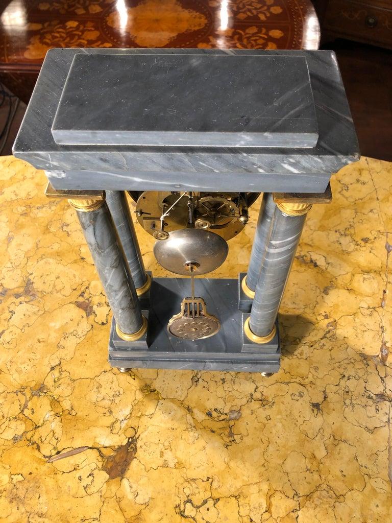 19th Century Empire Marble France Clock Mainet à Paris, 1810s For Sale 7