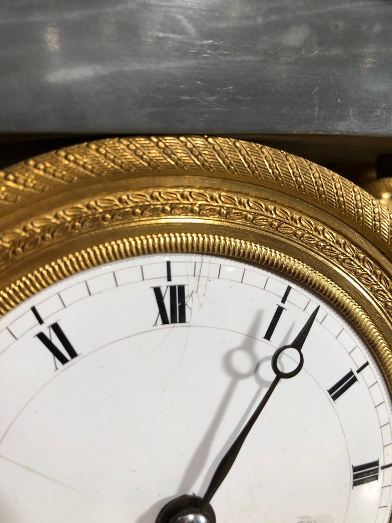 French 19th Century Empire Marble France Clock Mainet à Paris, 1810s For Sale