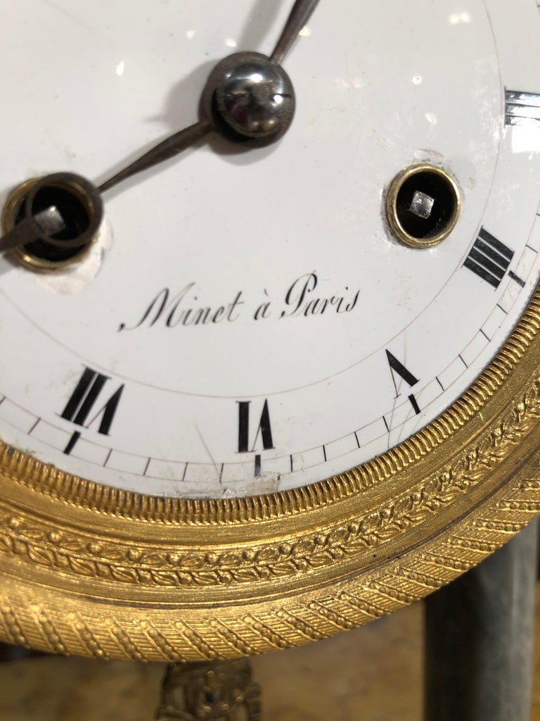 19th Century Empire Marble France Clock Mainet à Paris, 1810s In Good Condition For Sale In Roma, RM