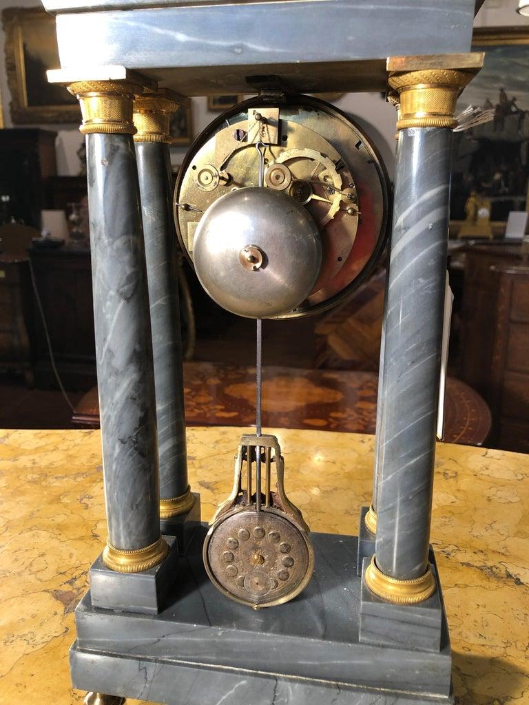 19th Century Empire Marble France Clock Mainet à Paris, 1810s For Sale 2
