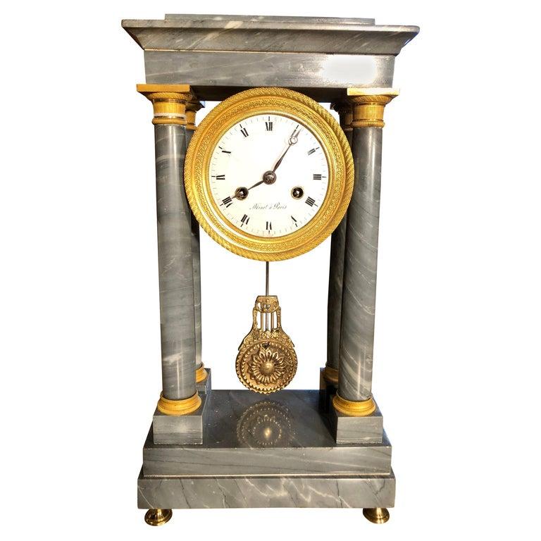 19th Century Empire Marble France Clock Mainet à Paris, 1810s For Sale