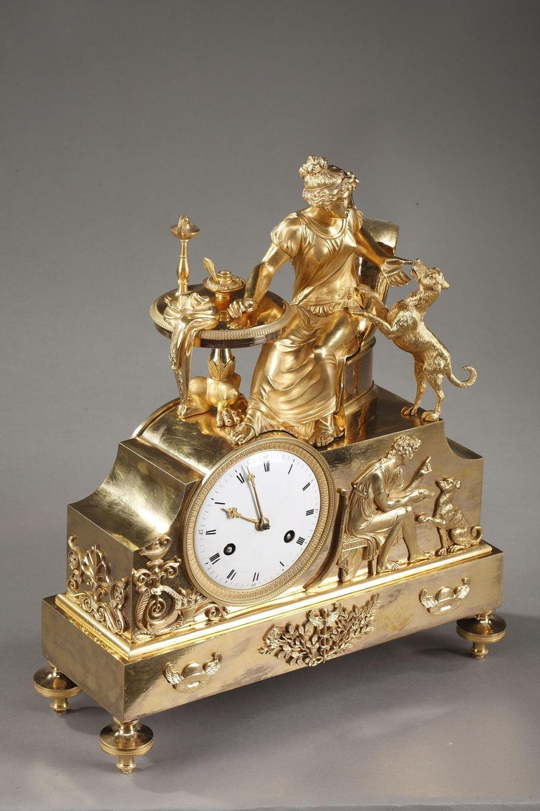19th Century Empire Ormolu Mantel Clock, Fidelity For Sale 4