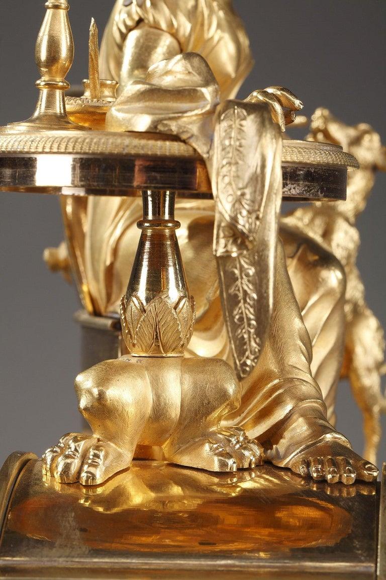 19th Century Empire Ormolu Mantel Clock, Fidelity For Sale 5