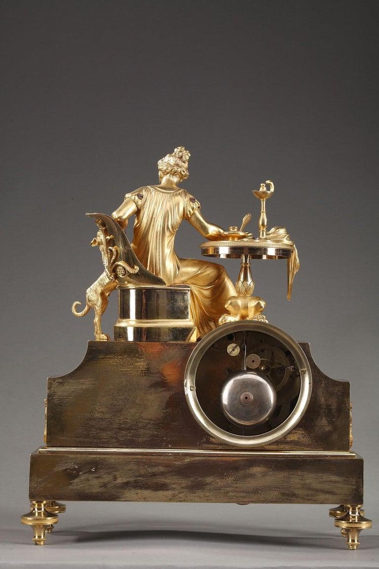 19th Century Empire Ormolu Mantel Clock, Fidelity For Sale 7
