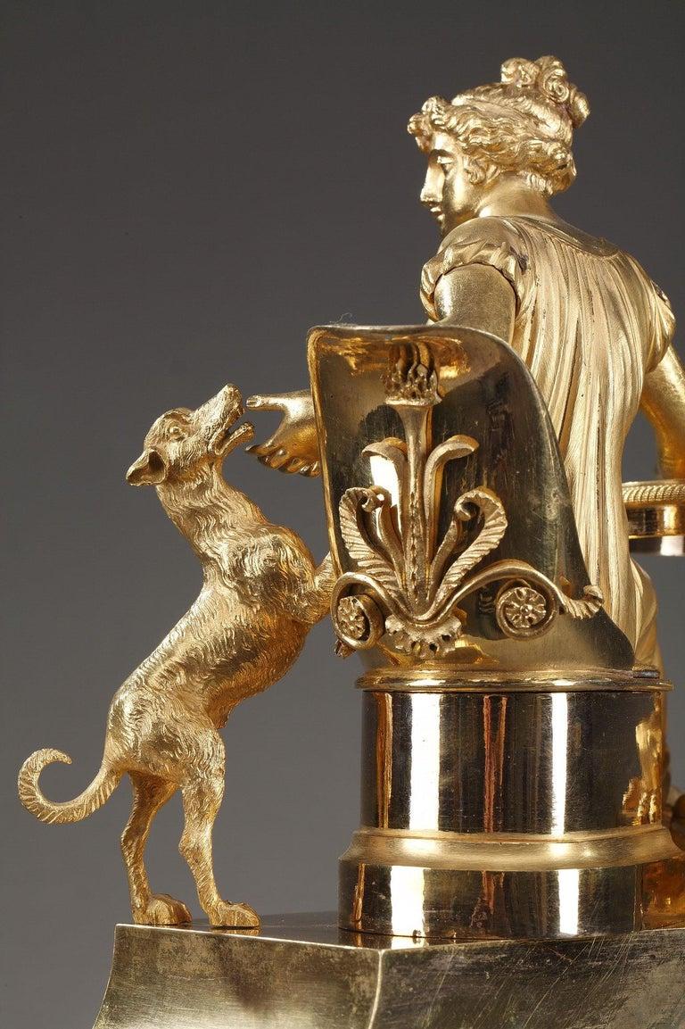 19th Century Empire Ormolu Mantel Clock, Fidelity For Sale 8