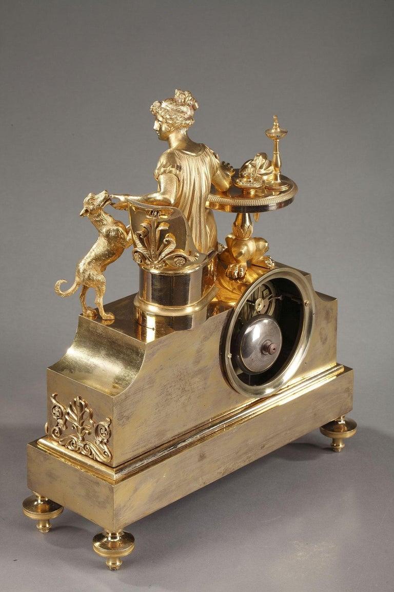 19th Century Empire Ormolu Mantel Clock, Fidelity For Sale 9