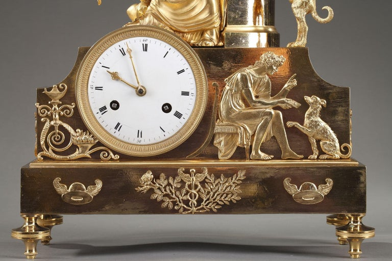 French 19th Century Empire Ormolu Mantel Clock, Fidelity For Sale