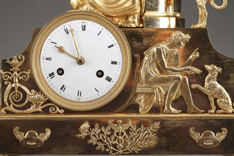 Gilt 19th Century Empire Ormolu Mantel Clock, Fidelity For Sale