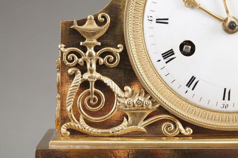 Bronze 19th Century Empire Ormolu Mantel Clock, Fidelity For Sale