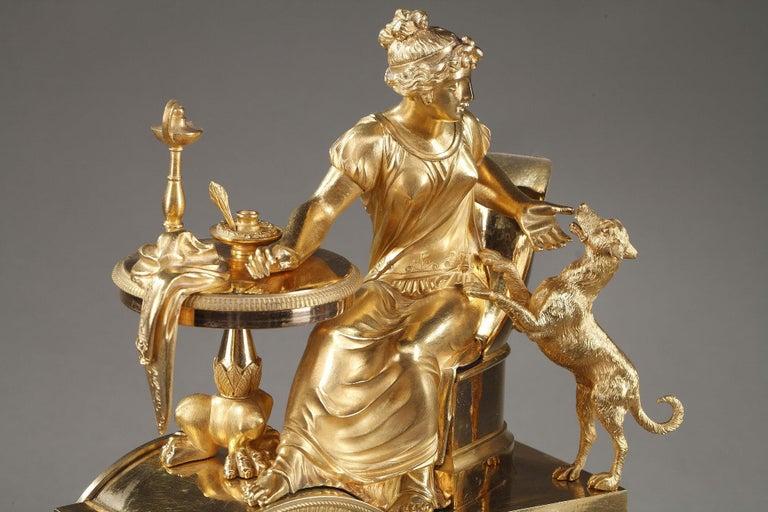 19th Century Empire Ormolu Mantel Clock, Fidelity For Sale 3