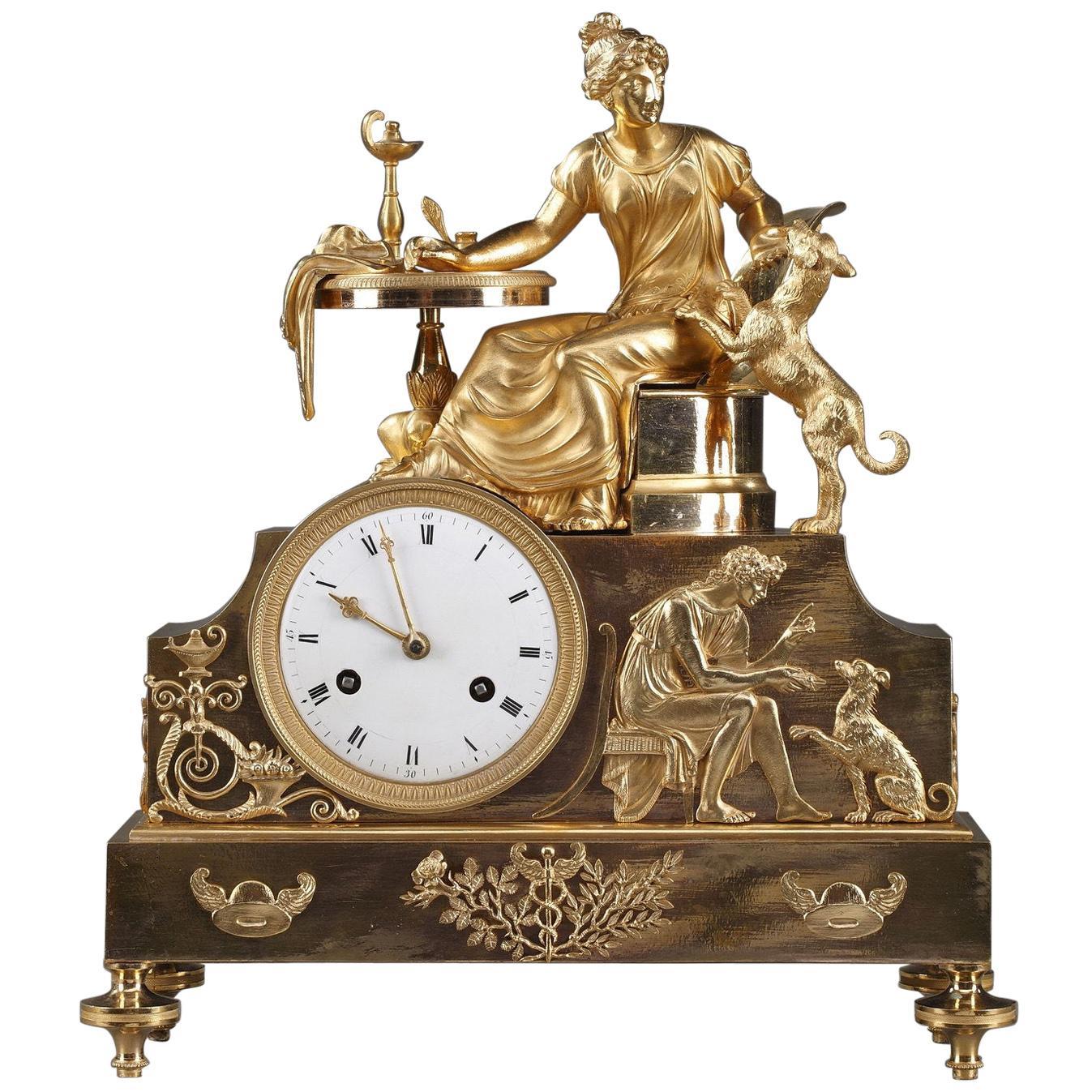 19th Century Empire Ormolu Mantel Clock, Fidelity