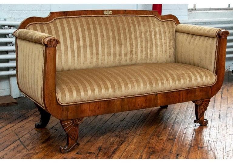 19th Century Empire Period Burled Wood Sofa For Sale 7