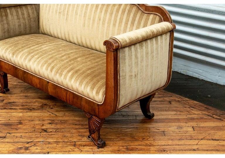 19th Century Empire Period Burled Wood Sofa For Sale 4