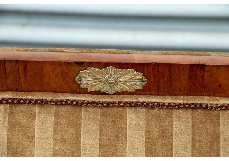 19th Century Empire Period Burled Wood Sofa For Sale 5