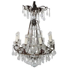 19th Century Empire Style Bronze and Crystals Luxury Chandelier