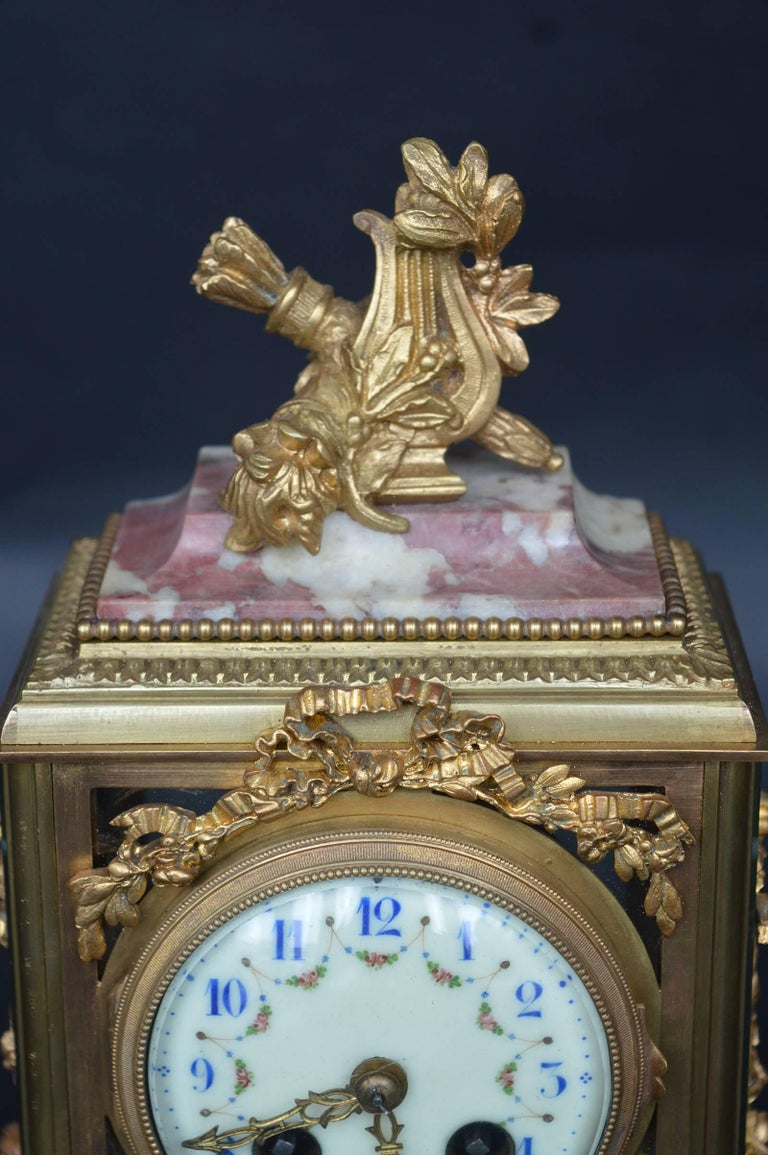 19th Century Empire Style Clock In Excellent Condition For Sale In Los Angeles, CA