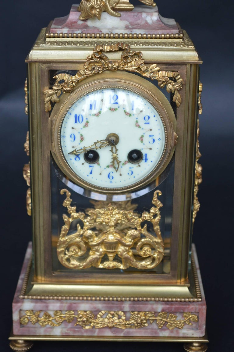 Bronze 19th Century Empire Style Clock For Sale