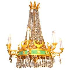 19th Century Empire Style Eight-Arm Crystal and Bronze Chandelier