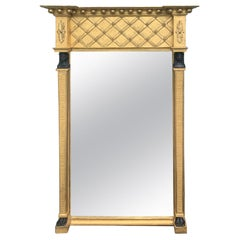 19th Century Empire Style Giltwood Mirror with Carved Faces