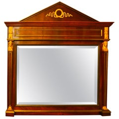 19th Century Empire Style Mahogany Bevelled Mirror with Gilt Bronze Mounts