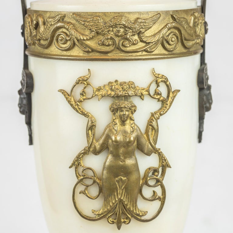 19th Century Empire Style Ormolu and White Marble Lyre Clock Garniture Clockset For Sale 5