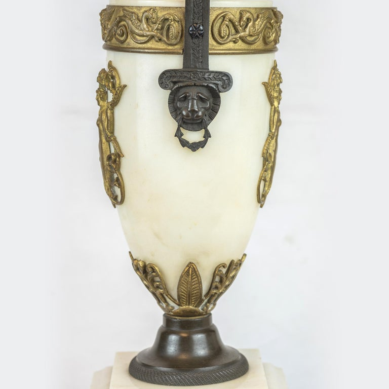 19th Century Empire Style Ormolu and White Marble Lyre Clock Garniture Clockset For Sale 7
