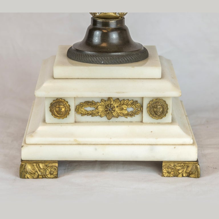 19th Century Empire Style Ormolu and White Marble Lyre Clock Garniture Clockset For Sale 8