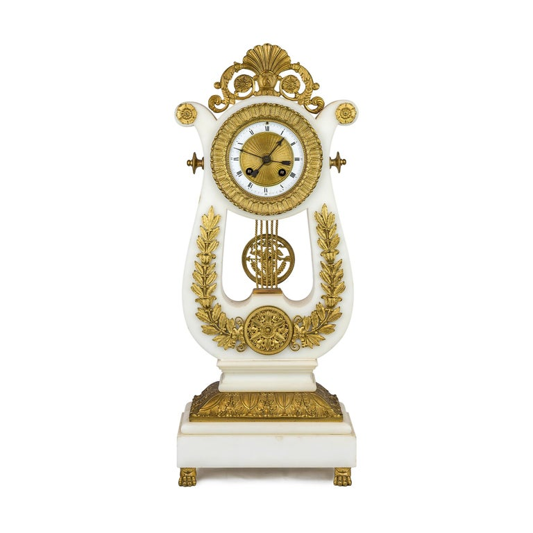 French 19th Century Empire Style Ormolu and White Marble Lyre Clock Garniture Clockset For Sale