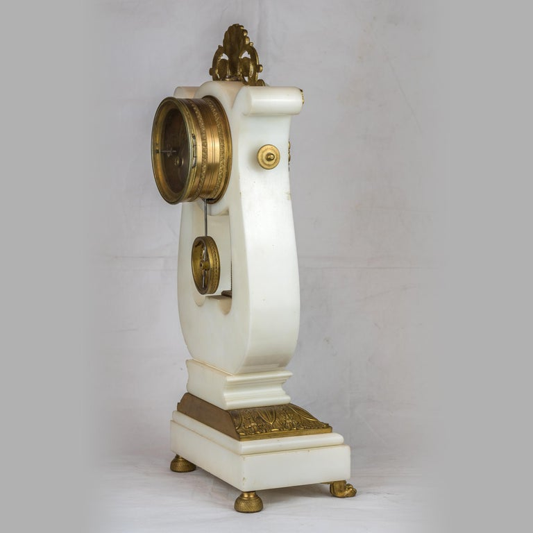 Gilt 19th Century Empire Style Ormolu and White Marble Lyre Clock Garniture Clockset For Sale