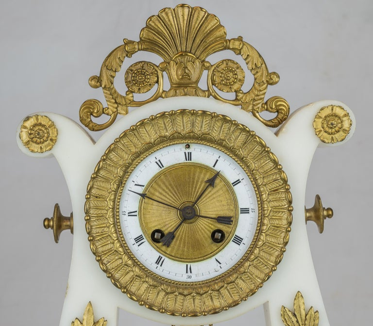 19th Century Empire Style Ormolu and White Marble Lyre Clock Garniture Clockset In Good Condition For Sale In New York, NY